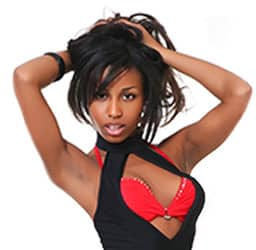 Gorgeous sexy black girl showing a red bra
